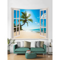 Tapestry Wall Tapestry Wall Hanging Windows Beach Sea Ocean Series Tapestry Tropical Style Sunrise Coconut Tree Gobelin na łóżko
