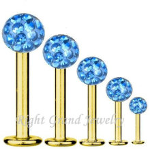 316L Surgical Stainless Steel Gold Plated Factory Price Lip Piercing Low