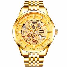 Relojes Hombre Man Uhren Steampunk Gold Luxus Marke Top Berühmte Edelstahl Strap Skeleton Mode wasserdicht