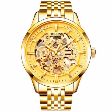 Relojes Hombre Мужские часы Steampunk Gold Роскошные бренды Лучшие знаменитые ремень из нержавеющей стали Скелет Мода Водонепроницаемый