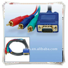 High Quality VGA TO 3RCA M/M CABLE Converting from VGA to RCA signal
