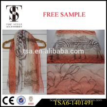 100% polyester scarf viscose voile lightweight zebra printed scarves