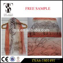 Echarpe 100% polyester écharpe viscose voile foulard imprimé zèbre léger
