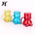 400ml  bear shaped glass mason jar with handle for juice beverage with metal lid
