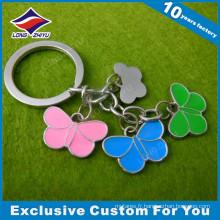 Cadeau promotionnel de porte-clés de charmes de papillon en métal