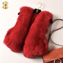 Pedaço integral de alta qualidade Natural Red Fox Fur Short Waistcoat Vest Gilet