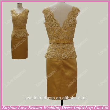 RP0082 Factory custom made V back lace appliques bead sexu back open evening dress two piece bodycon dress shiny gold prom dress