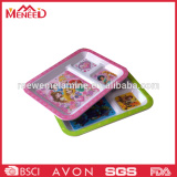 New arrival children food grade melamine 3 compartments tray