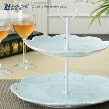 Blue And Pink Elegant Fine Porcelain Flower Design Plaques de dessert en céramique, Noël Deux calques plaques pas cher