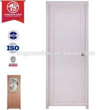 Vente en gros de PVC en plastique intérieur porte de toilette avec / sans verre givré