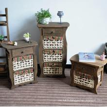 Cabinet de salle de bains en bois de stockage de meubles de rotin antique de salon