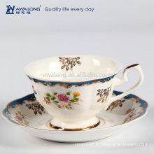 Современная форма Роскошная тонкая фарфоровая косточка Китайская фасоль с чашкой кофе Машина чайная чашка и блюдцевый набор