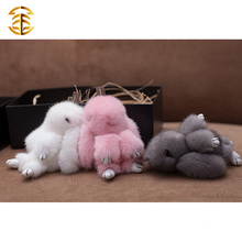 Adorable White Mink Fur Rabbit Style Bag Charm For Girl Gift