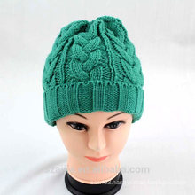 Ladies colorful acrylic knitted beanie hat