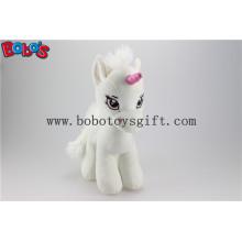 Мягкая симпатичная белая игрушка с игрушечным единорогом для младенца с длинным плюшевым мехом Bos1187