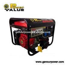 Genour Poder 190F 6kw / kva Gasolina / motor de gasolina 15hp recoil & começo elétrico com punho e ar da roda cobre 100%