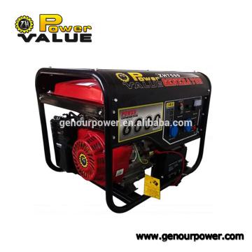 Genour Power 190F 6kw / kva Benzin / Benzinmotor 15hp Rückstoß & elektrischer Start mit Griff und Rad Luft 100% Kupfer