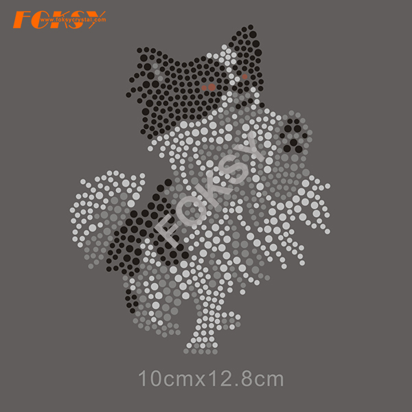 Dog Motif Hot Fix Rhinestone Iron på Transfer Designs