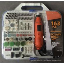 Ensemble d'accessoires de broyeur de passe-temps portatif 163pcs 135W avec kit d'outils rotatif électrique pivotant Flex Shaft