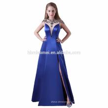 vestido de dama de honor de diseño largo satinado patrones cuello en V profundo sexy y vestido de dama de honor azul real dividido alto para la boda