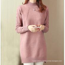 PK18ST073 Elegant long sleeve crew neck woman dress cashmere sweater