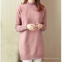 PK18ST073 Elegante manga longa gola mulher vestido suéter de cashmere