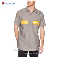 Customized Supplier Wholesale Security Workwear Reflective Tape Uniform Short Sleeve Hi-vis Working Shirt