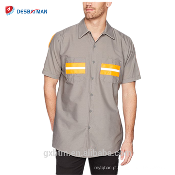 Personalizado Fornecedor Atacado de Segurança Workwear Fita Reflexiva Uniforme de Manga Curta Hi-vis Camisa de Trabalho