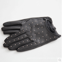 sexy fashion studded short driving leather gloves