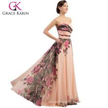 2015 Grace Karin caliente venta sin tirantes escote corazón flores florales patrones de vestidos de gasa larga vestido de dama de honor CL7503