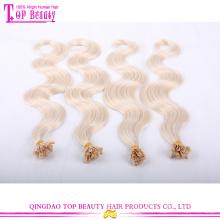 Fábrica preço duplo desenhado unha dica cabelo extensões #27 corpo onda U ponta extensões de cabelo