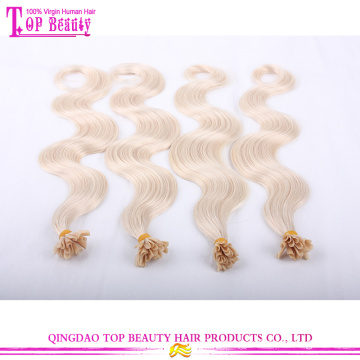 Factory Price Double Drawn Nail Tip Hair Extensions #27 Body Wave U Tip Hair Extensions