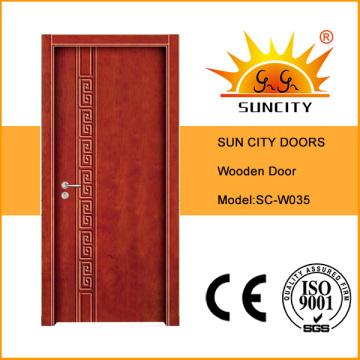 Низкая цена современная врезная Конструкция составная деревянная дверь (СК-W035)