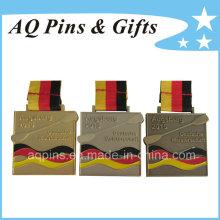 Medalha quadrada em ouro antigo / prata / chapeamento de bronze