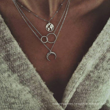 Multilayer Fashion Trendy Bohemian Choker Necklace for Female Women Gift Jewelry Sequin Star Ball Round Charm Necklace Wholesale