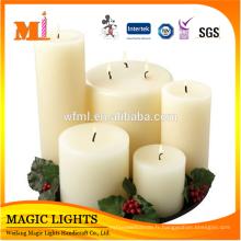 Matériau de cire de paraffine à 100% et bougies pilier blanc en forme de pilier