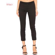 Schwarze taillierte Baumwoll-Stretch-Twill-dünne Crop-Hose für Bürodame