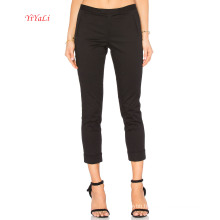 Black Fitted Cotton Stretch Twill Slim Crop Pants for Office Lady