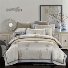 Buena reputación y buen juego de cama de algodón chino jacquard beeding set casa ropa de cama conjunto