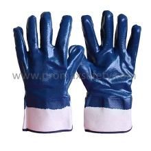 Jersey Cotton Liner Blue Nitrilo Luvas totalmente revestidas com manguito de segurança