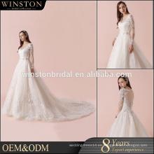Alibaba nuevo diseño de manga larga encaje patrones de vestidos de novia