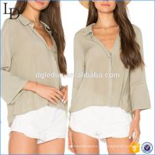 New Design senhoras elegantes v profundo pescoço Mulher moda solta Camisa Blusa