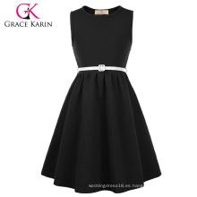 Grace Karin niños niños niñas cuello redondo sin mangas A-Line vestido negro patinador CL010482-1