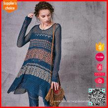 Las últimas mangas largas del diseño jacquard tejieron los patrones del suéter del ganchillo para las mujeres