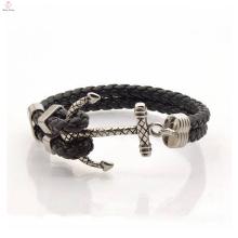 Bracelet en cuir pour hommes en gros à la mode avec accessoire d'ancrage
