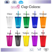 16oz Double Wall Plastic Acrylic Tumbler with Straw and Lid