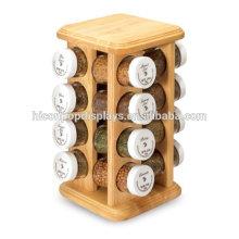6 * 6 * 10.5 pulgadas Tabletop Jar Productos Alimenticios Al por menor Exhibición 16 Botellas Mason Candy Or Spice Jar Madera