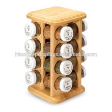 6*6*10.5 Inch Tabletop Jar Packed Products Retail Display 16 Bottles Mason Candy Or Spice Jar Rack Wood
