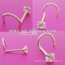 Titanium gold nose ring with fashion crystal