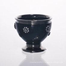 Tasse en céramique noire de lanterne de décoration de diamant pour le support de bougie